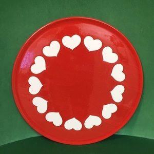 """Vintage Heart Cake Platter 12"""" Diam"""